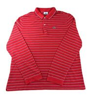 Lacoste Long Sleeve Polo Shirt Top Size 8 3XL XXXL Red Striped