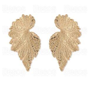 5cm LARGE LEAF oversize studs GOLD FASHION EARRINGS textured veined leaves UK