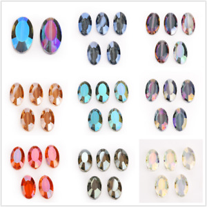 Teardrop Spacer Oval Beads Crystal 22mm Flat 5pcs Findings Faceted Glass