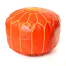 Sale! Handmade Moroccan Leather Stuffed Pouf/Ottoman Orange/Yellow