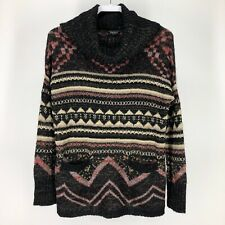 Lucky Brand Womens Small Sweater Cowl Neck Fuzzy Pockets Striped Tribal S