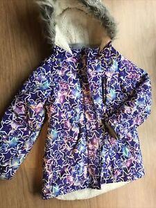 Girls Purple Star Print Hooded Fleece Lined Winter Coat Jacket Age 9-10 Years Tu