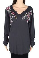 Style & Co Womens Top Gray 2X Plus Split-Neck Embroidered Waffle Knit $49 127