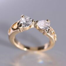 Fashion Women Wedding Jewelry Crystal Gold Tone Zirconia Bowknot Ring New Size 8