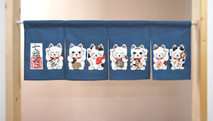 """Japanese Noren Curtain Sushi Bar Doorway Room Divider Tapestry 12""""L Lucky Cats"""
