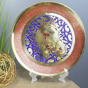 Natural Geo Horse Decorative Brass Accent Plate