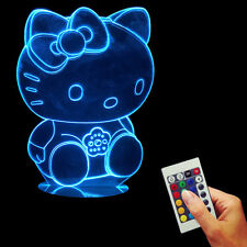 Hello Kitty 3D LED Illusion Night Light USB Table Desk Lamp Children Room Decor
