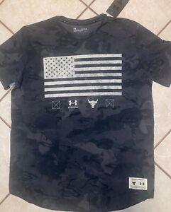 "Under Armour Men's Project Rock Vet Day Flag T-Shirt Dwayne ""Rock"" Johnson Large"