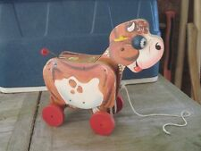 """Fisher-Price MOLLY MooMoo Wood Antique Pull Toy, 10""""x 4.5""""x 9.5"""", Good Condition"""