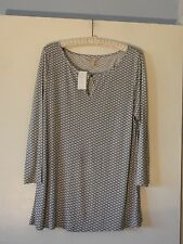 Banana Republic New Knit Blouse Misses XL White Black Tan Rayon New W Tag