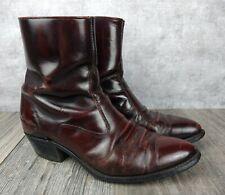 Vtg. Texas Dark Cherry Leather Side Zip Western Cowboy Ankle Boots Mens Sz 10 Ee