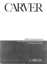 Carver H-9av Sonic Generator Owners Manual