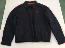 US polo assn blue golf windbreaker jacket with red fleece lining red logo zip up