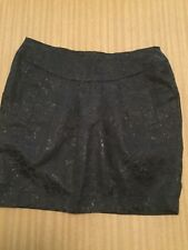 Ladies Tokito Pleated Black Shimmering  Floral Skirt Size 10