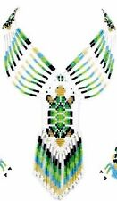 HANDCRAFTED GREEN GOLD BEADED NATIVE STYLE TURTLE NECKLACE EARRINGS SET S32/7