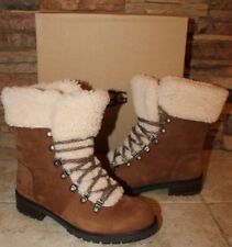 NIB UGG FRASER Women's Leather Sheepskin Lace Up Ankle Boots CHESTNUT 8