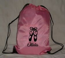 PERSONALISED DANCING DRAWSTRING PE BAG - BALLET IRISH DANCE OR TAP SHOES LOGO
