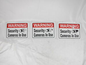 Set of 3 Warning Security Cameras in Use Signs 10x14 Inch Rust Free 30-mil Alum.