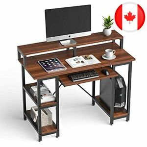 """QooWare Computer Desk with Keyboard Tray, 46"""" Writing Desk w/Storage Shelves & M"""