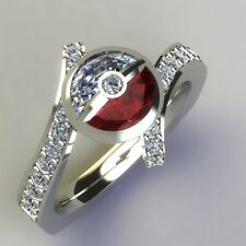 Pokemon 2CT Half White & Red Round Pokeball Garnet Wedding Ring 925 Silver Metal