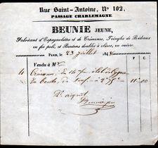 """PARIS (IV°) FABRICANT de QUINCAILLERIE pour MEUBLES """"BEUNIE Jeune"""" en 1848"""