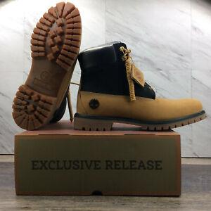 "Timberland 6"" Fleece Lined Waterproof Boots Black Tan TB 0A2MHQ 231 Men's 11.5"