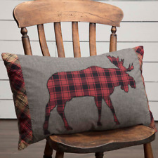CUMBERLAND MOOSE Applique Pillow Log Cabin Rustic Hunting Lodge Chambray 14x22
