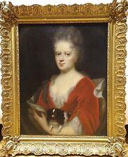 Grand 18th Siècle Français Lady & King Charles Spaniel chien portrait peinture à l'huile