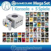 Nintendo GameCube - MegaSet: Konsole + 5 Spiele + Controller + Zub. #silber