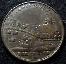 1758 Battle of Louisbourg Canada French-Indian War Medal Scarce Nice