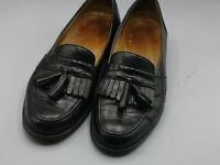 MAGNANNI MENS BLACK OUTER LEATHER + INSOLE TASSLE LOAFERS SHOES 8.5 M