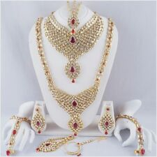 Indian Bollywood Bridal Jewelry Set Gold Handmade Fashion Necklace Earrings 9PCS