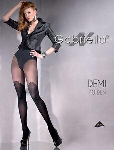 MOCK SUSPENDER STOCKINGS TIGHTS PATTERNED 40 Denier Demi Gabriella