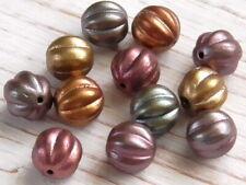 12 - 8mm Czech Glass Bead Mix Metallic Pearl Satin Melon, Pumpkin Fluted Ribbed