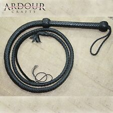 06 feet long 08 plait Genuine Real Leather Bull Whip Heavy duty Bullwhip Black