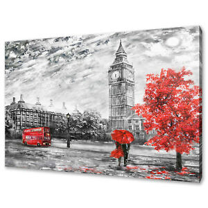 STREETS OF LONDON RED TREE BIG BEN BUS MODERN CANVAS PRINT WALL ART PICTURE