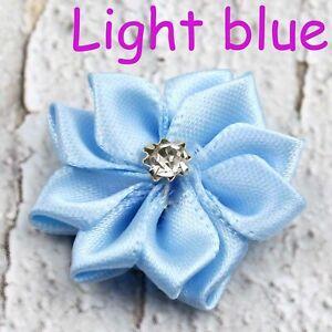 10 to 100p Mini satin ribbon 9 petals rhinest with Appliques Craft DIY Wedding