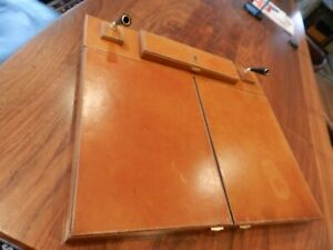 Vintage Aigner French Leather Folding Letter Writing Box w/Pen Holder