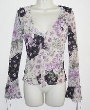 Chiffon Stretch V Neck Floral Tops & Shirts for Women
