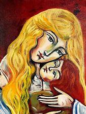 Original Signed SARAH KINAN ACRYLIC PAINTING ON CANVAS Mother & Child Canadian