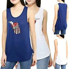 Women Sleeveless Vest Sequin Patch Ladies Summer Camisole Casual Tank Top Blouse