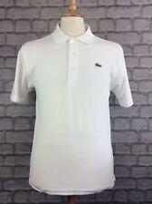 LACOSTE Da Uomo UK S FR 3 Bianco Manica Corta Polo Shirt Designer Abbigliamento Maschile Casual