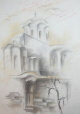 Vintage pencil drawing landscape church