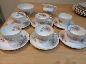Vintage Pretty Delicate Pink Flowers China Tea Set X6 With Creamer Jug & bowl