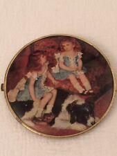 """Small 4.25"""" Round Retro Compact Mirror Vintage Girls Children Dog"""