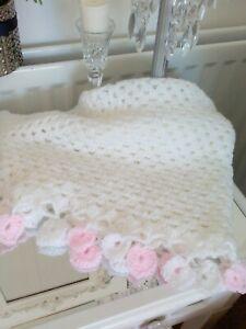 Hand Crochet Baby Blanket With Heart Edge