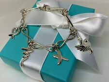 Tiffany & Co. Paloma Picasso Dove Heart Kiss Scribble 4 Charm Bracelet Vintage