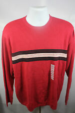 New Club Room Long Red Striped Long Sleeve Crew Neck Shirt Sweater Large NWT