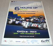 Le Mans Du Mans FIA WEC - 6 Hours Of Fuji Japan 2012 - Official Event Programme