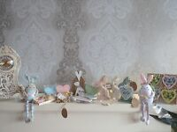 Easter gifts shabby chic hanging easter decorations rabbits hearts bunnys bells